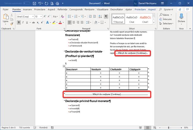Sfârșituri de secțiune (continue) în Microsoft Word