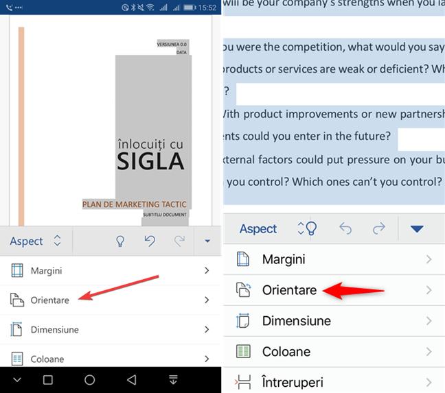 Alege Orientare în Microsoft Word pentru mobil