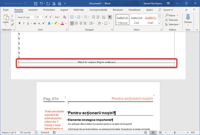 Sfârșit de secțiune Pagină următoare în Microsoft Word