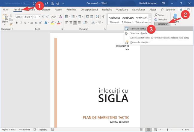Selectare totală în Microsoft Word