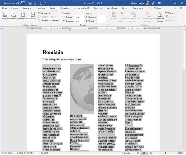 Text dintr-un document Word, împărțit în patru coloane