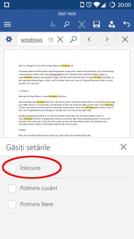 Android, Word, text, inlocuieste, gaseste, cauta