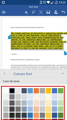 Android, Microsoft Word, formatare, text, liste, font, marime, culoare
