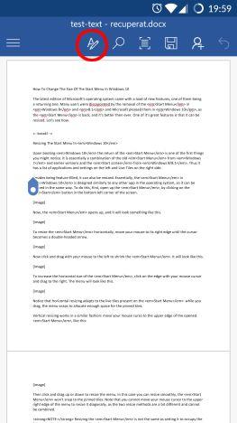 Android, Microsoft Word, imagini, forme, inserare, editare, documente