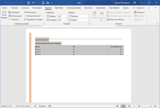 O pagină separată cu orientare tip vedere într-un document Microsoft Word