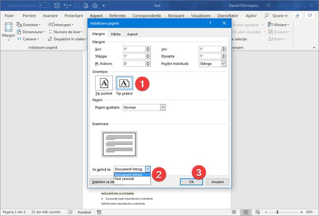 Selectează orientare tip vedere în Microsoft Word