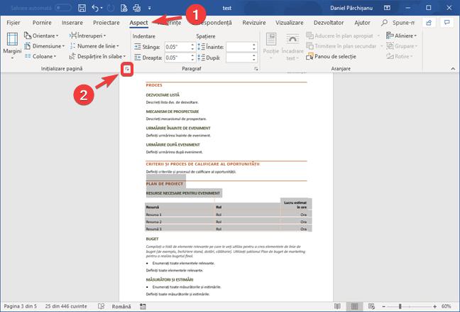 Deschide fereastra Inițializare pagină în Microsoft Word