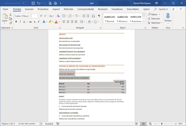 Selectează conținut pentru o schimbare de orientare de pagină în Microsoft Word