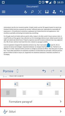 Android, Microsoft Word, documente, text, paragrafe, formatare