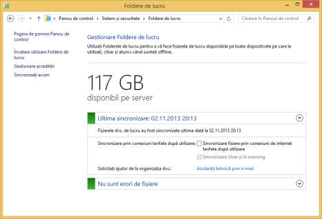 Windows 8.1, Work Folders, Foldere de lucru, configurare