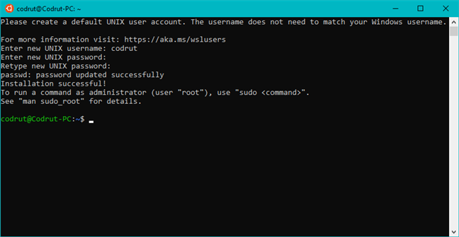 Rularea Ubuntu în Windows 10