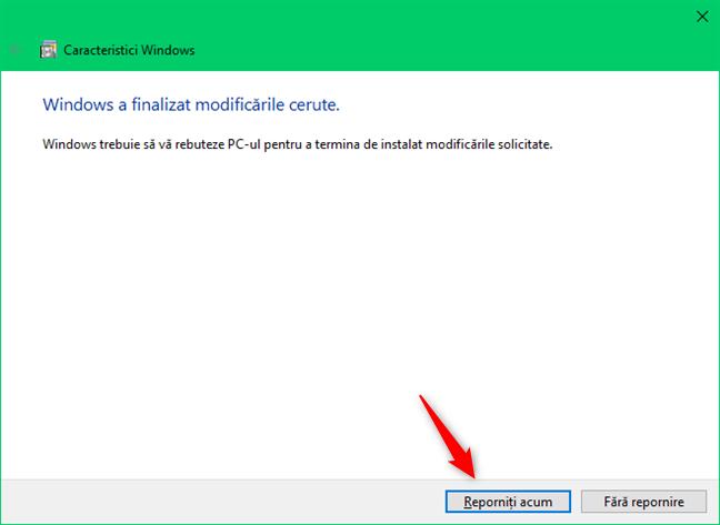 Repornește pentru a finaliza instalarea Subsistemului Windows pentru Linux
