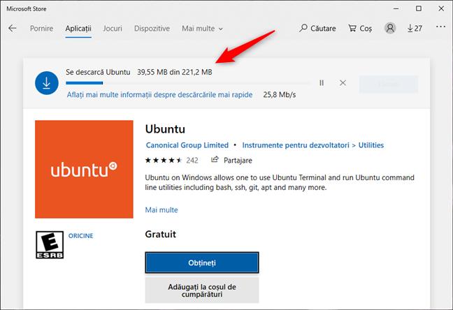 Descărcarea unei distribuții de Linux din Magazinul Microsoft