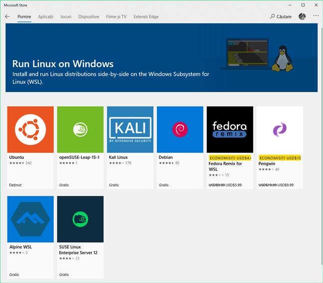 Distribuții de Linux disponibile în Magazinul Microsoft
