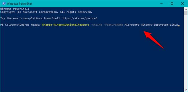 Activarea Subsistemului Windows pentru Linux din PowerShell