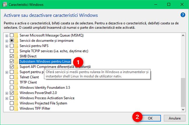 Caracteristica Subsistem Windows pentru Linux