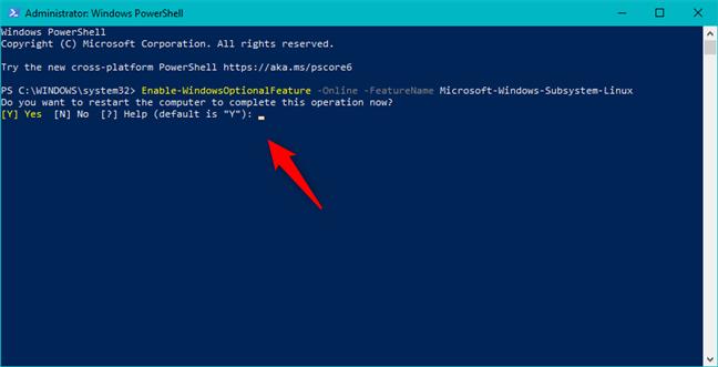 Finalizează operația prin repornirea Windows 10