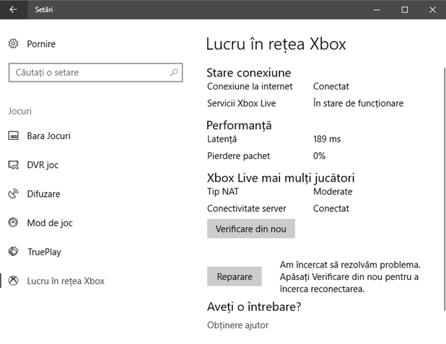 Xbox Networking, Windows 10, Lucru in retea Xbox