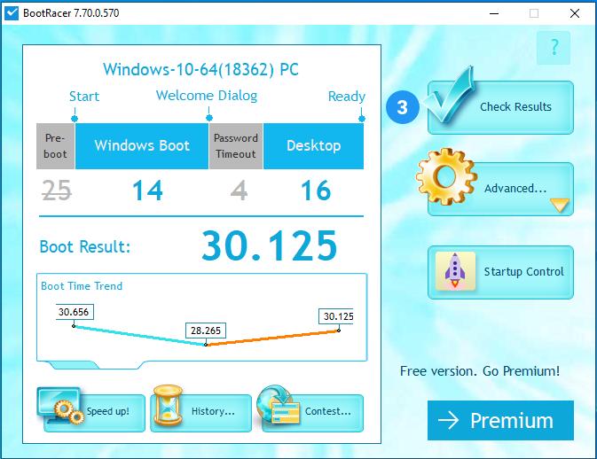 Timp de pornire Windows 10 măsurat cu BootRacer