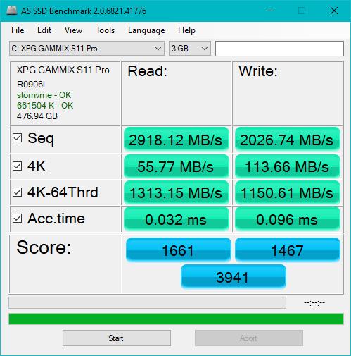 Benchmark SSD ADATA XPG Gammix S11 Pro cu AS SSD Benchmark