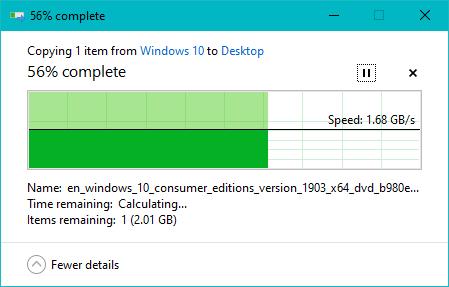 Copierea unui fișier mare pe SSD-ul ADATA XPG Gammix S11 Pro