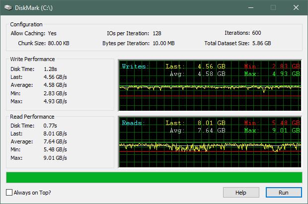 ADATA XPG Gammix S50 SSD: Rezultate benchmark în DiskMark