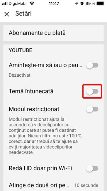 Activează Tema întunecată în YouTube pentru iOS