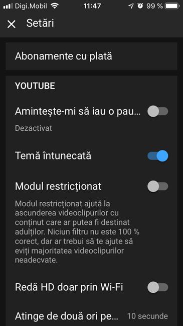 Tema întunecată în Setările aplicației YouTube pentru iOS