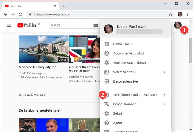 Deschide meniul Cont din YouTube în browserul tău