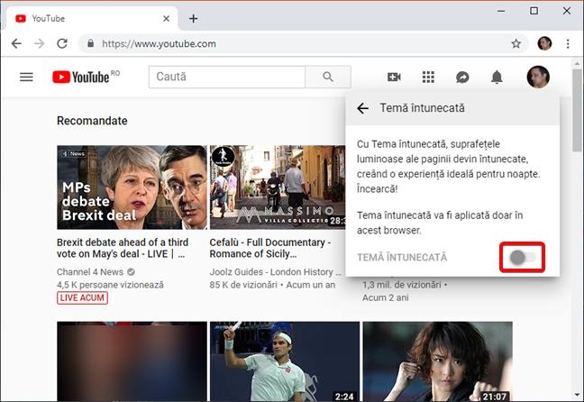 Activează Tema întunecată în YouTube pe browserul tău web
