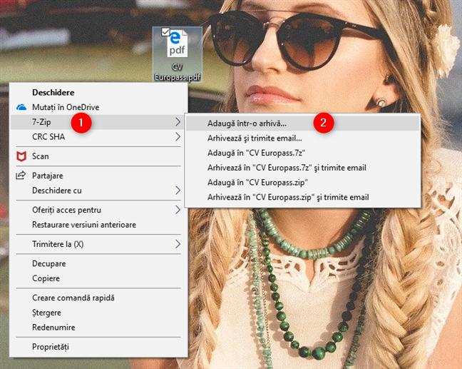 Opțiunea de adăugare într-o arhivă oferită de 7-Zip