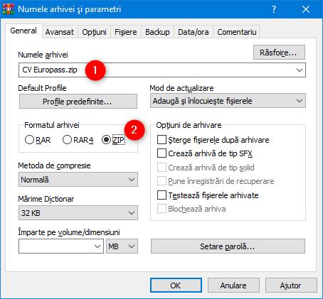 Alegerea unui nume pentru fișierul ZIP și selectarea formatului său, în WinRAR