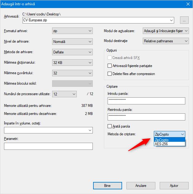 Selectarea metodei de criptare în 7-Zip