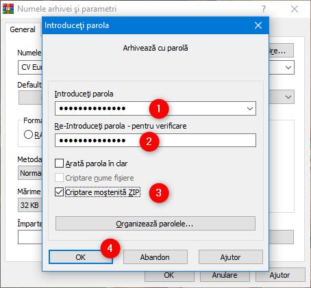 Introducerea parolei pentru fișierul ZIP și selectarea metodei de criptare