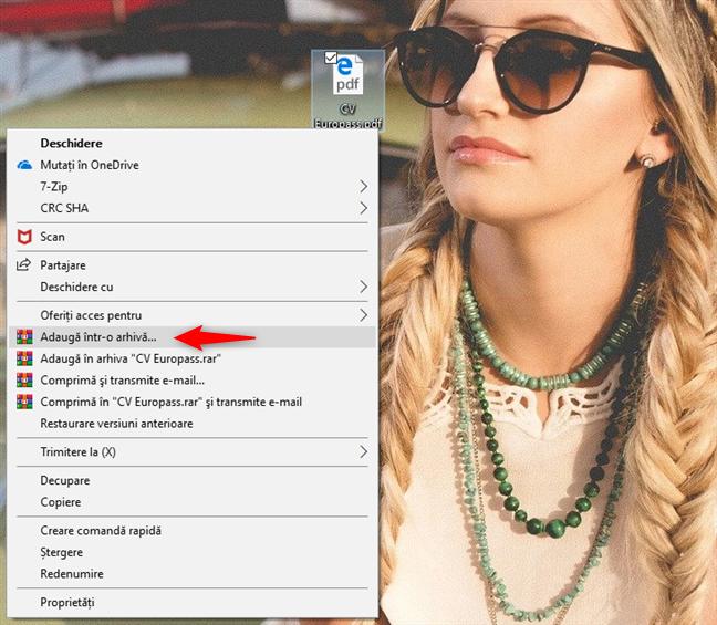Opțiunea Adaugă într--o arhivă din meniul clic dreapta al WinRAR