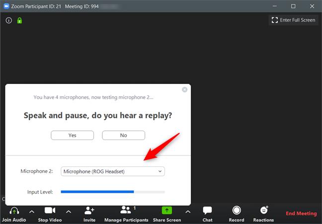Selectarea microfonul utilizat de Zoom