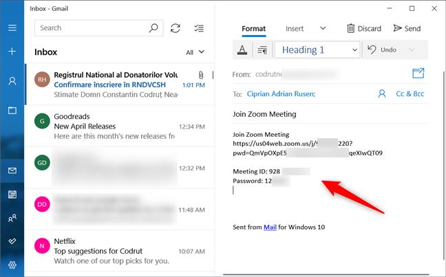 Trimiterea unei invitații predefinite la ședința Zoom, prin e-mail