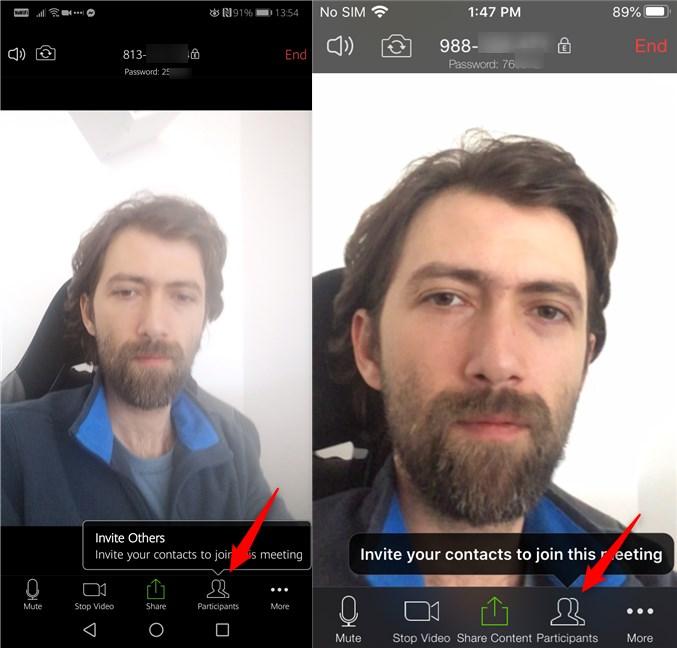 Butonul Participants din aplicațiile Zoom pentru Android și iOS