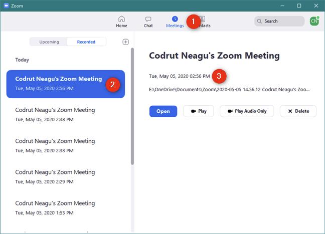 Lista de conferințe Zoom înregistrate și opțiunile pentru ele