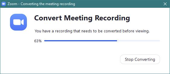 Zoom - Conversie înregistrare conferință