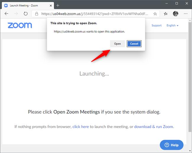 Un browser web ce îți cere să deschizi linkul ședinței Zoom în aplicația Zoom