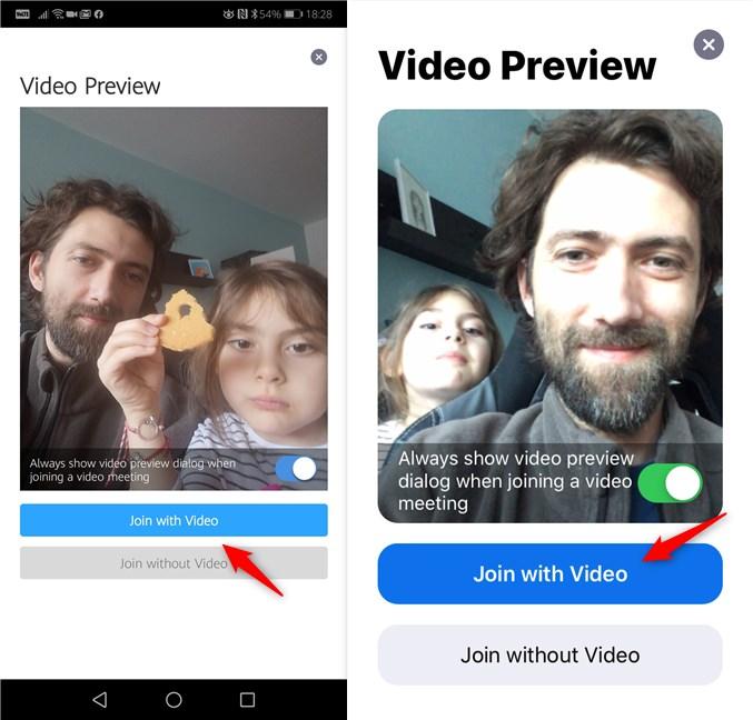 Opțiunea de a te alătura la conferința Zoom cu sau fără video