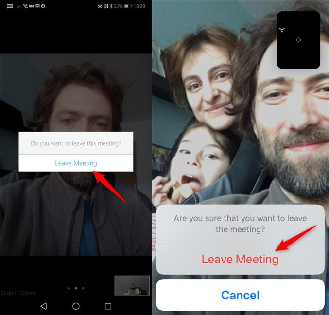 Ieșirea dintr-o conferință Zoom pe un smartphone cu Android și pe un iPhone