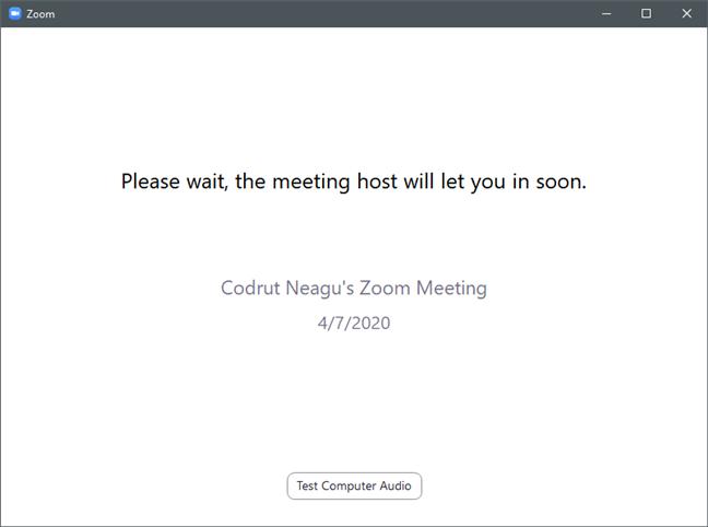 Așteptând ca gazda conferinței Zoom să îți aprobe participarea