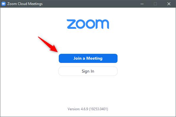 Butonul Join a Meeting din aplicația Zoom Cloud Meetings pentru Windows