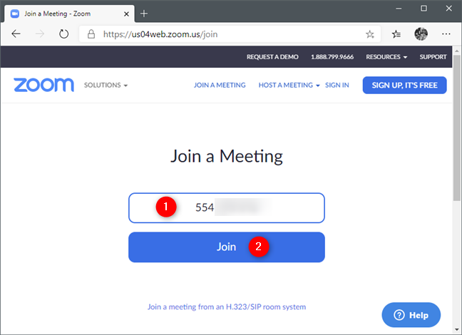 Pagina Join a Meeting pe site-ul web Zoom
