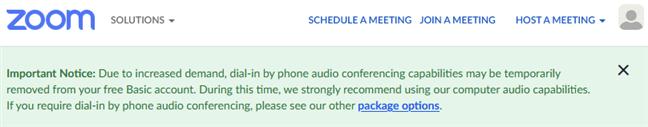 Intrarea în conferință prin telefon este disponibilă pentru clienții abonați la serviciile plătite Zoom
