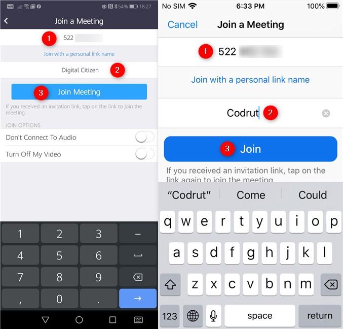 Introducerea ID-ului ședinței Zoom și alegerea unui nume pentru tine
