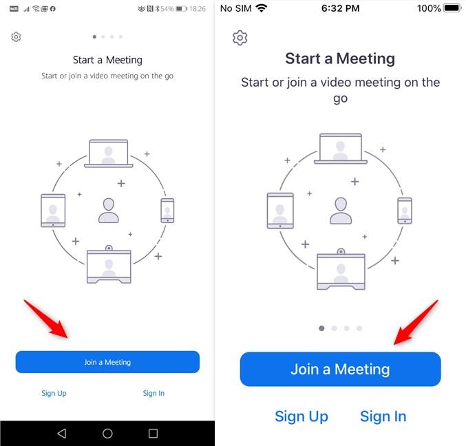 Join a Meeting (Alătură-te unei conferințe) în Zoom pentru Android și iPhone
