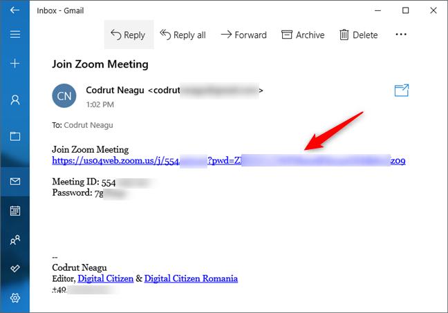 Linkul din invitația la o conferință Zoom